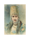 Girl Wearing a Kokoshnik and Pearl Choker by Leon Bakst