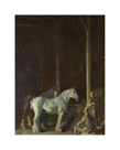 Percherons and Stable Men in a Barn by Sir Alfred Munnings