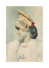 Girl Wearing a Kokoshnik in Profile by Leon Bakst