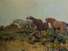 Shrimp with Ponies in the Ringland Hills Near Norwich by Sir Alfred Munnings