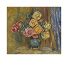Roses in front of a Blue Curtain by Pierre Auguste Renoir