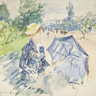 A Woman Seated at a Bench on the Avenue du Bois by Berthe Morisot