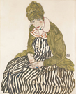 Edith with Striped Dress, Sitting, 1915 by Egon Schiele