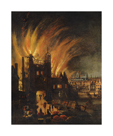 The Great Fire of London, with Ludgate and Old St. Paul's by 17th Century School