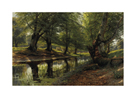 A Stream Through the Glen, Deer in the Distance by Peder Mork Monsted