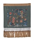 Embroidered Silk Fringed Panel with Figures by Oriental School