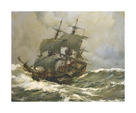 Old Timer in Rough Seas by Montague Dawson