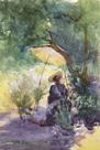 A Woman Sketching in a Glade by Mildred Anne Butler