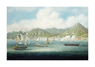 Ships in Victoria Harbour by Oriental School
