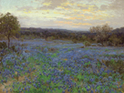 Field of Bluebonnets at Sunset by Julian Onderdonk