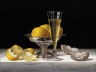 Champagne with Lemons and Oysters by Roy Hodrien
