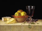 Apples in a Rustic Bowl with Cheeses by Roy Hodrien