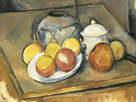 Straw-Trimmed Vase, Sugar Bowl and Apples by Paul Cezanne