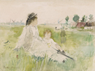 A Young Woman and Child Seated on the Grass by Berthe Morisot