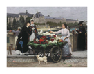 The Flower Seller on the Pont Royal with the Louvre Beyond, Paris by Marie Firmin-Girard