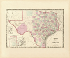 Map of the State of Texas, 1862 by Alvin Jewett Johnson
