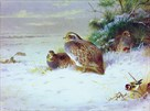 Partridges and Goldfinches in Winter by Archibald Thorburn