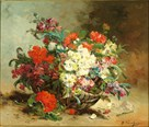 A Basket of Flowers by Eugene Cauchois