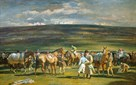 In the Saddling Paddock, March Meet, Cheltenham by Sir Alfred Munnings