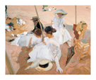 Under the Awning, on the Beach at Zarauz by Joaquín Sorolla y Bastida