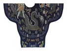 Embroidered Silk Robe with Blue Dragons by Oriental School