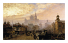 Sunset (Saint Pancras Hotel and Station from Pentonville Road) by John O'Connor