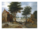 Bustling Village Landscape with Trees by Jan Brueghel the Younger