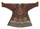 Embroidered Silk, Brown Dragon Robe by Oriental School
