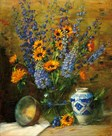 Delphiniums and Chinese Vase by Frank Janca
