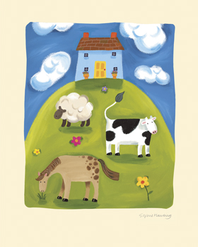 Blue Farmhouse Print by Sophie Harding