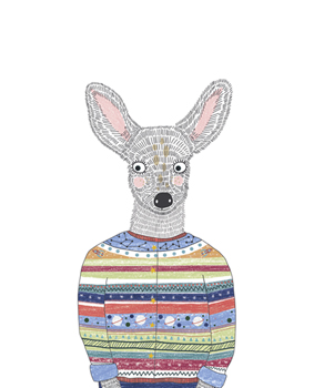 Deer in a Cardigan Print by Archie Stone