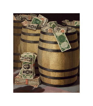 Barrels of Money Fine Art Print by Victor Dubreuil