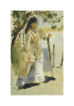 Woman by a Fence Fine Art Print by Pierre Auguste Renoir