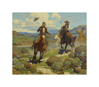 Pursuit of a Cattle Thief Fine Art Print by Frank Tenney Johnson