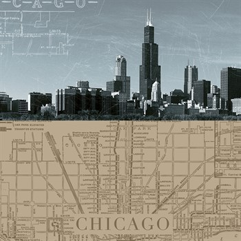 Chicago Map I Print by The Vintage Collection