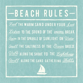 Beach Rules - Aqua - Detail Print by The Vintage Collection
