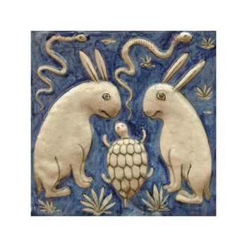 Two Rabbits, Two Snakes and a Tortoise Fine Art Print by Zakarya Qazvini