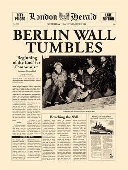 Berlin Wall Tumbles Print by The Vintage Collection