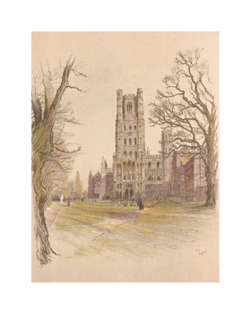Ely Cathedral Fine Art Print by Cecil Aldin
