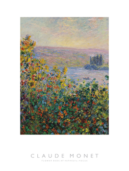 Flower Beds at Vetheuil - Focus Print by Claude Monet
