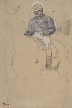 A Jockey on His Horse Print by Edgar Degas