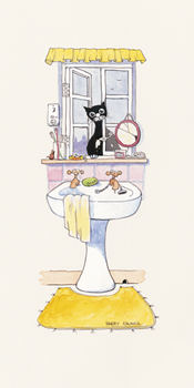Basil In The Bathroom I Print by Harry Caunce