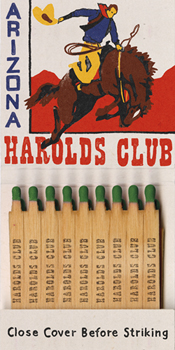 Harolds Club Matchbook Canvas Print by Kristine Hegre