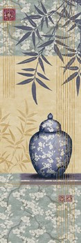 Bamboo and Blossom I Print by Linda Wood