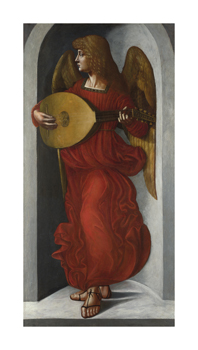 An Angel in Red with a Lute Fine Art Print by Leonardo da Vinci