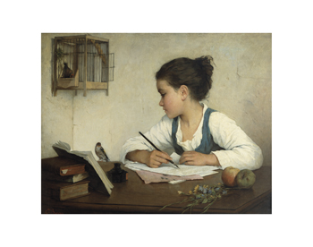 A Girl Writing Fine Art Print by Henriette Browne