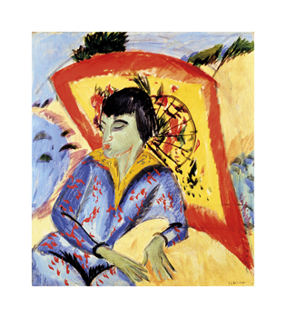 Erna with Japanese Umbrella Fine Art Print by Ernst Ludwig Kirchner