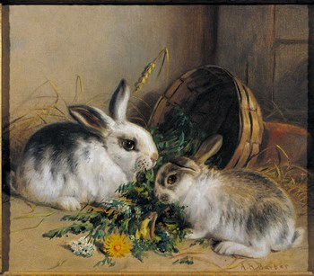 Bunnies' Meal II Print by Alfred Barber