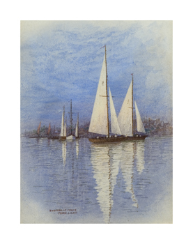 Bemudan Rigged Yachts Sailing off Bernham On Crouch Fine Art Print by Frederick J. Goff