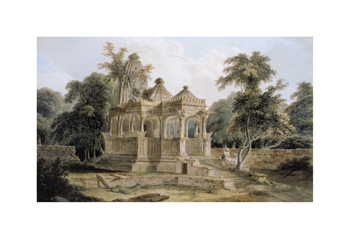 A Hindu Temple in the Fort Of Rohtas Fine Art Print by Thomas and William Daniell
